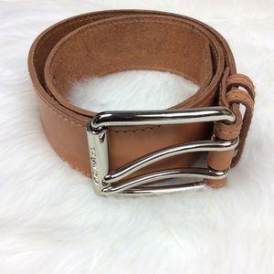 Michael Kors Brown Double Latch Leather Belt